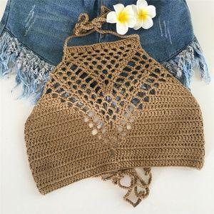 Tops - Khaki Boho Handmade Crochet Halter Crop Top